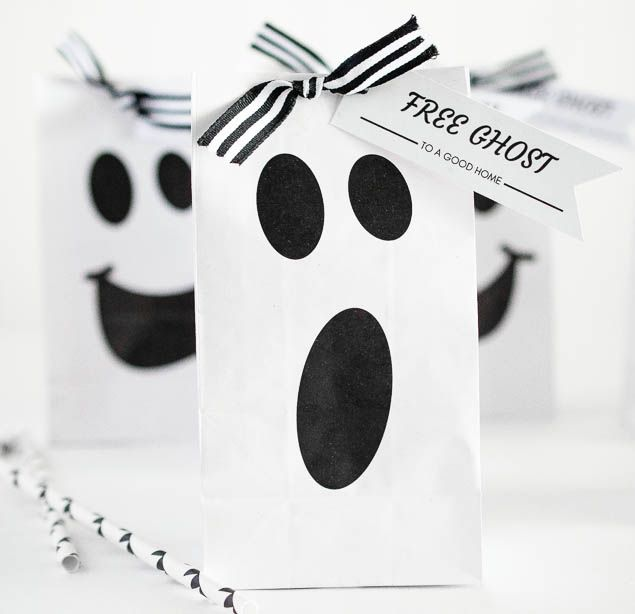 Halloween Ideas| Free printable halloween ghost gift bag