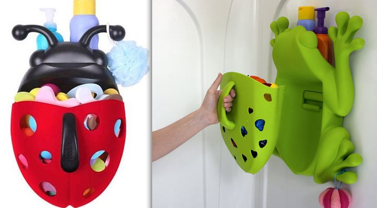 Best Bath Toy Storage Solutions. This is way too small for my son's gaggle of crap but what a cute freaking idea?! ♡