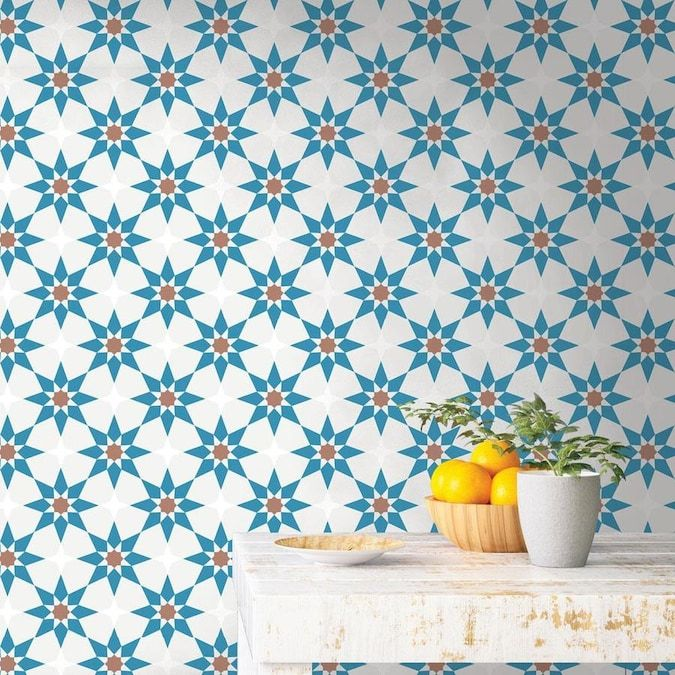 Tempaper 28 Sq Ft Terracotta And Blue Vinyl Tile Self Adhesive Peel And Stick Wallpaper Lowes Com Peel And Stick Wallpaper Removable Wallpaper Wallpaper Roll