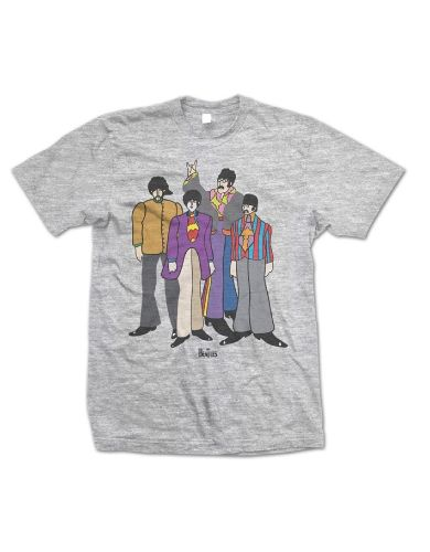 The Beatles Submarine Mens T-Shirt - This grey t-shirt features a cartoon portrait of the Beatles from their Yellow Submarine album printed on its front.