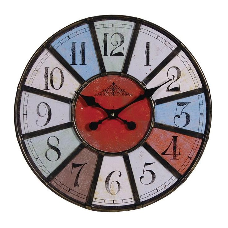 Round Multicoloured Retro Wall Clock