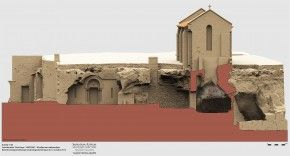 """Coupe nord-sud en 3D de la chapelle Sainte-Madeleine ( Patrimoine numérique)- 5) HADES, LA MADELEINE: Au cours de cette campagne de fouilles un relevé topographique des empreintes funéraires visibles et des fronts de carrière, le tout complété par un relevé lasergrammétrique au scanner 3 D couplé par une photogrammétrie de l'espace creusé """"rotonde"""" sous la chapelle de la Madeleine a été réalisé. Des sondages autour du chevet de l'ancienne église de la Madeleine dite de Fussignac, ..."""