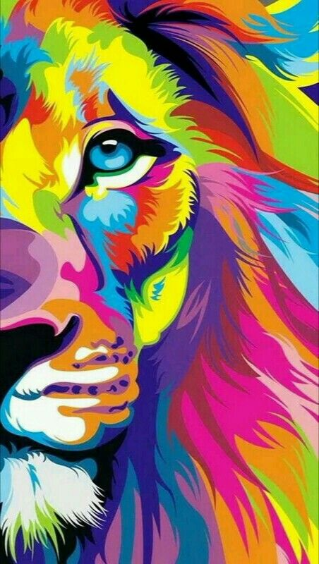 Colorful lion painting - photo#32