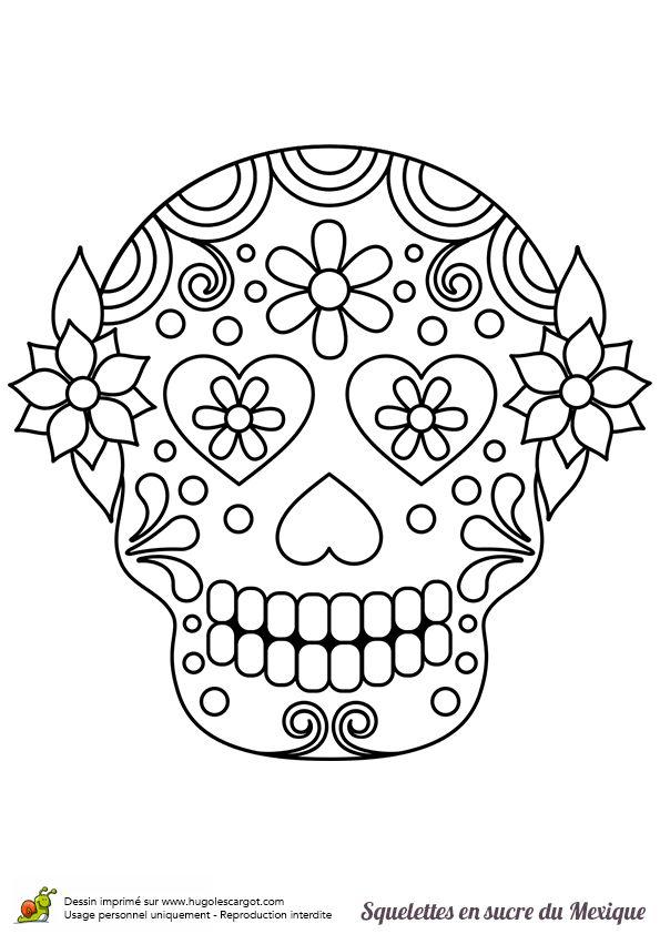 17 best images about t te de mort mexicaine on pinterest - Tete de mort coloriage ...