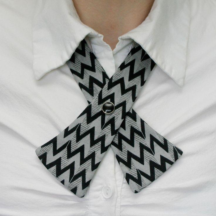 Womens Neck Tie  Gray & Black Zig Zag  Deco by flappergirl on Etsy, $18.00
