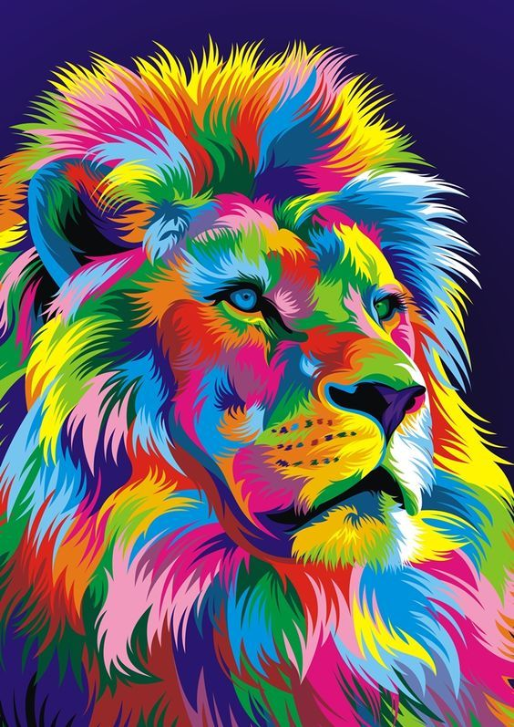 Rainbow Lion Lion Art Lion Vector Rainbow Lion