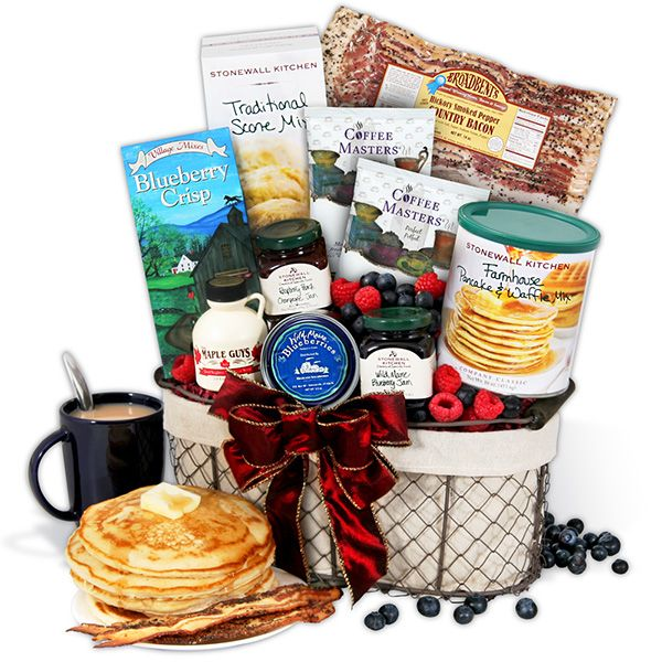 Send a classic New England breakfast anywhere! This gift basket boasts wild Maine blueberries, New Hampshire maple syrup, and hickory-smoked bacon!