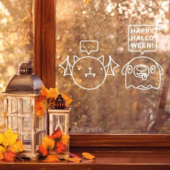 Spook hond heeft echt zin in Halloween, de vleermuis kat.. niet echt. Teken deze leuke verkleden huisdieren #raamtekening begin oktober op je raam en geniet er de hele maand van!