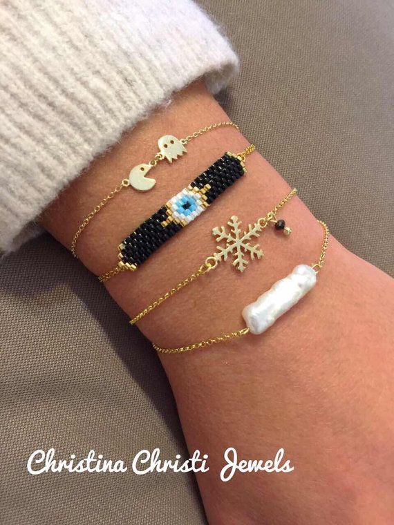 Gold 24k Bracelets Snowflake Bracelet Evil by ChristinaChristiJls