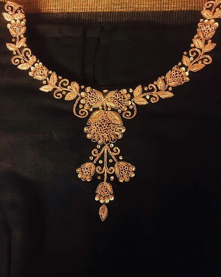 Simple neck yoke embroidery for salwar and blouses