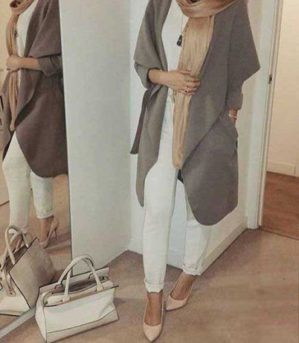waterfall-olive-trench-coat-with-hijab- Ootd hijab styles http://www.justtrendygirls.com/ootd-hijab-styles/