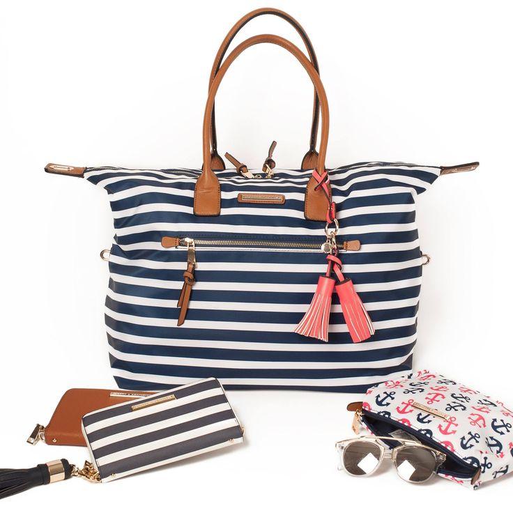 Nautical Getaway #summer #cottage #beach #girlsweekend #nautical #weekend #bag #travel #getawaybag #cosmeticbag #anchors #navy