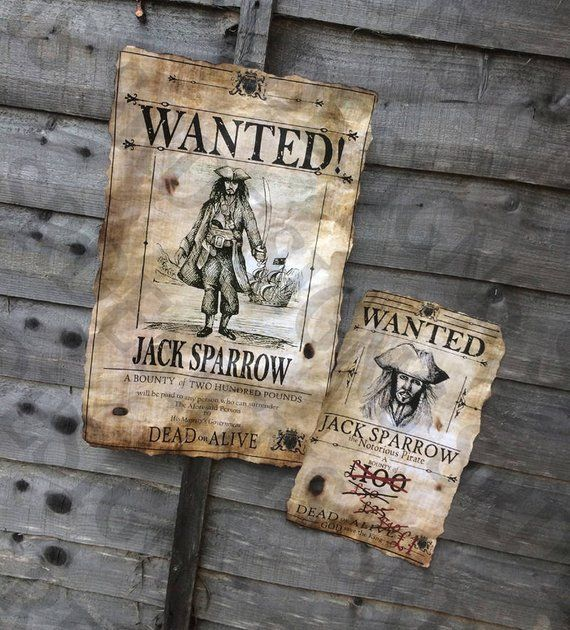 PRINTABLE Pirates Of The Caribbean 'WANTED' Poster