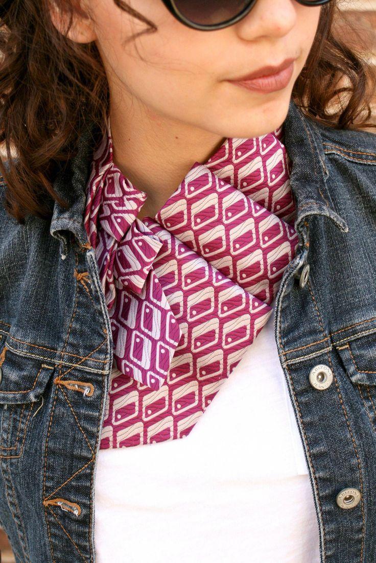 Necktie Necklace - Necktie Scarf - Women's Tie - Ascot Tie - Statement Necklace #fashionover40over40boots #WomensFashionEdgyClassy