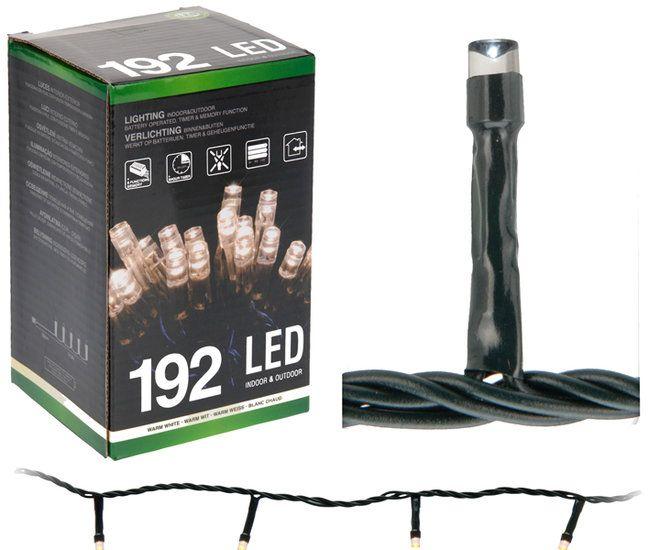 Kerst LED-verlichting 192 LED's Voor binnen en buiten.   Kerst LED-verlichting Met timer en controller met 8 funkties.  Geheugenfunktie (onthoudt de laatst gebruikte instelling)  192 LED's, kleur warm wit. Kerst LED-verlichting