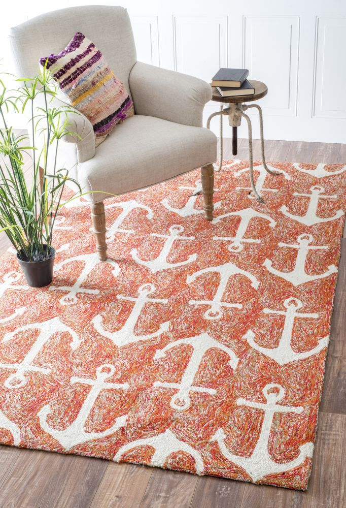Hacienda Anchors Outdoor White Rug | Contemporary Rugs #RugsUSA