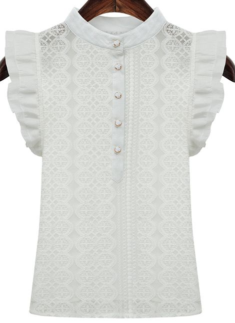 Shop White Ruffle Sleeve Buttons Lace Blouse online. SheIn offers White Ruffle Sleeve Buttons Lace Blouse & more to fit your fashionable needs.