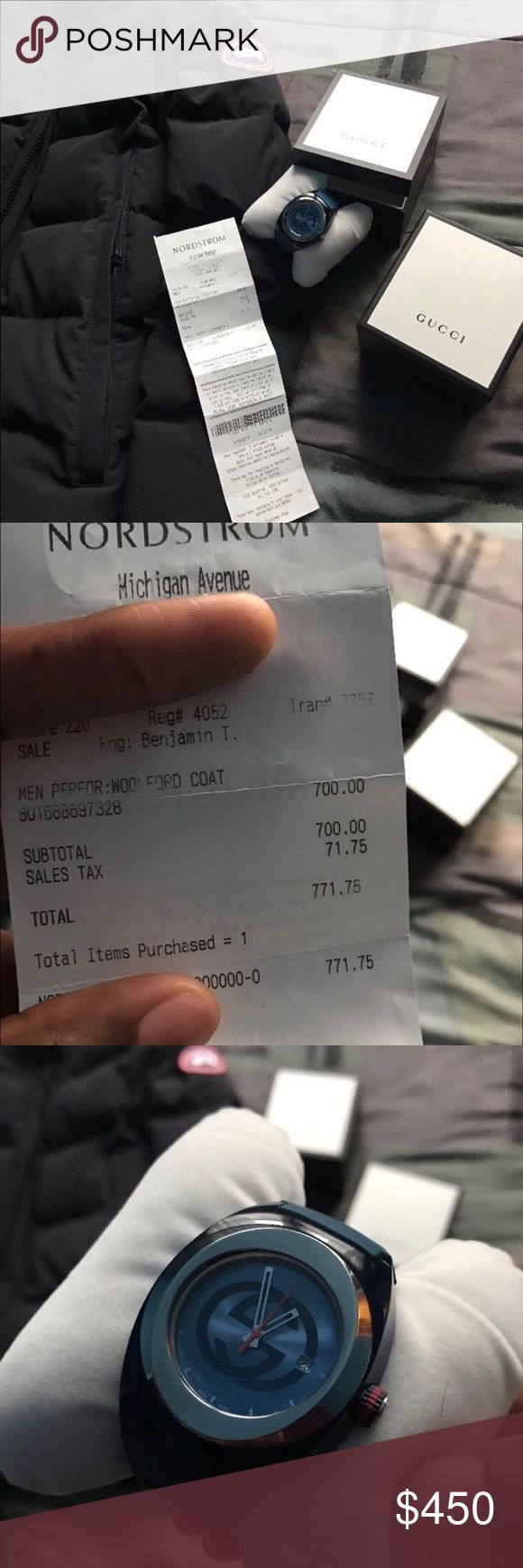 Canada Goose plus Gucci watch Authentic Canada goose parka jacket shown with receipt from Nordstrom and Authentic Gucci Watch from Rogers & Hollands jacket was 771.00 and Watch was 500.00 all I'm asking for is 350.00 , in need of cash fast is the only reason I'm doing this, DO NOT PURCHASE BEFORE CONTACTING ME!! Payments are expected through Paypal and my business account , I only take Paypal payments , and ship items to you Canada Goose Jackets & Coats Puffers