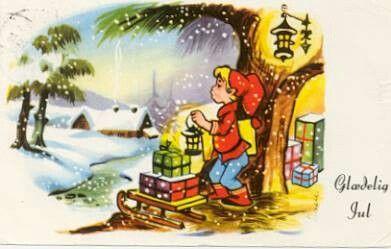 Julekort sig. DAEU - Nisse gjør klar pakker på slede Utg Jali Stemplet 1955
