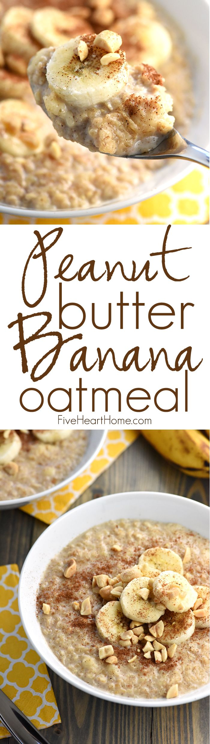 Peanut Butter Banana Oatmeal 1 3/4 cups milk 1 cup quick oats 1 large ripe banana, mashed 2 tablespoons peanut butter 1/2 teaspoon ground cinnamon 1/4 teaspoon pure vanilla extract Pinch of salt 1 to 3 teaspoons honey, optional Sliced bananas, chopped peanuts, and cinnamon, for serving FiveHeartHome.com