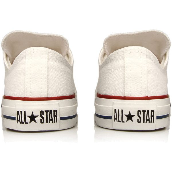 Converse White Chuck Taylor All Star Low Trainers ($70) ❤ liked on Polyvore featuring shoes, sneakers, converse, chaussures, canvas lace up shoes, lace up sneakers, white trainers, white sneakers y converse trainers