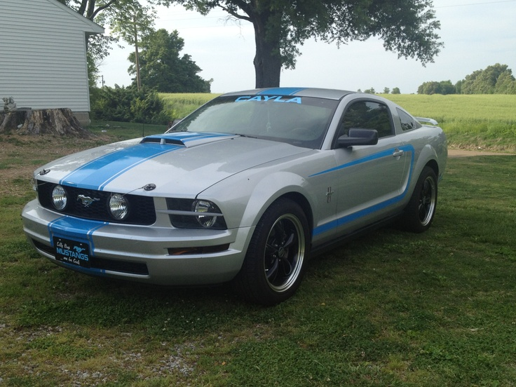 My baby! 2005 Ford Mustang, satin silver with blue racing