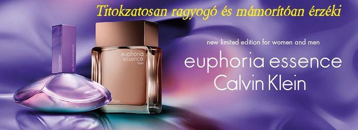 Calvin Klein Euphoria Essence női parfüm  Calvin Klein Euphoria Essence gyümölcsös-virágos illat, mely ragyogó és érzéki.  Az euphoria essence-t fénylő, csillogó érzékiséggel és titokzatos ragyogással teli mámoros álom ihlette. Fejjegyeiben lenyűgöző vitalitást nyújtó lédús bogyók találhatók mint a málna finom édessége, szívjegyeit az egzotikus orchidea gazdagítja.  Alapjegyei közt az érzéki kasmír fa és a kényeztető csokoládé selymessége teszi ellenálhatlanná és nyújt eufórikus érzést…