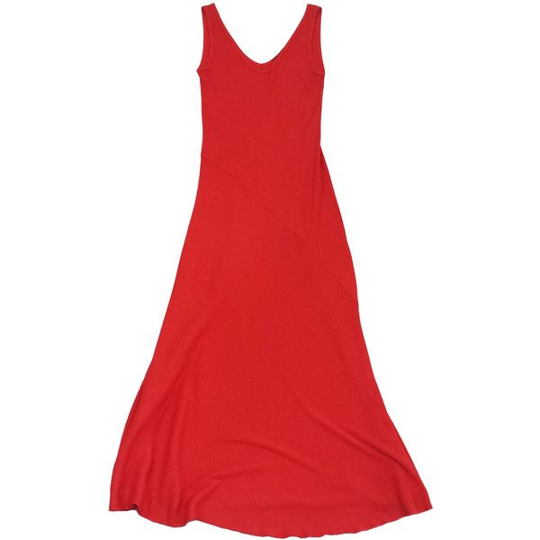Pre-owned Ralph Lauren Black Red Cotton Maxi Dress (¥11,100) ❤ liked on Polyvore featuring dresses, red cotton dress, red dress, red v neck dress, cotton dresses and v-neck dresses