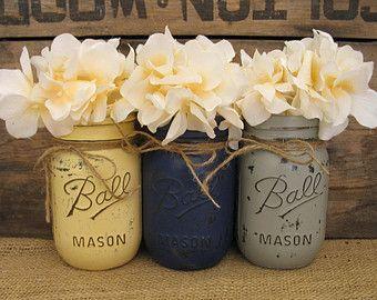 Set Of 3 Pint Mason Jars, Painted Mason Jars, Wedding Centerpieces, Teacheru2026