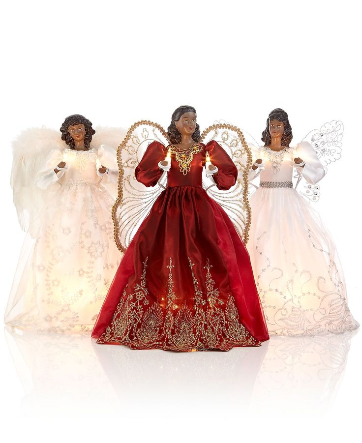 Holiday lane african american angel tree topper holiday for American christmas decorations