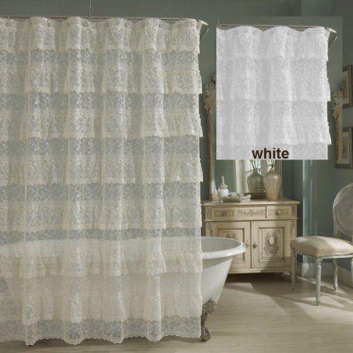 Priscilla Layered Ruffled Lace Shower Curtain