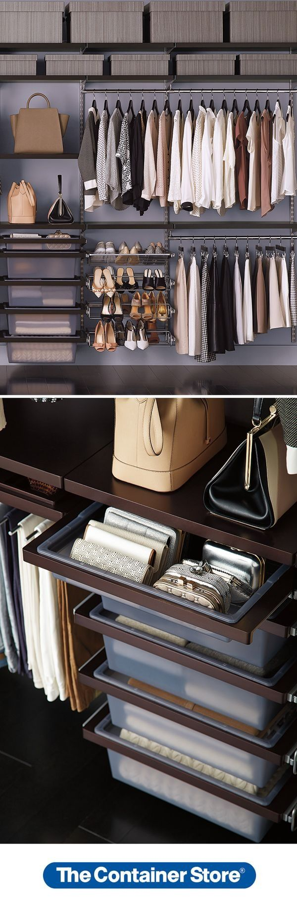 From shoes to handbags, there's a place for everything in an elfa closet! This one features Walnut Decor Shelves and Hanging Drawers.