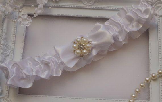 Weddings Wedding Garter Bride Garter White Bridal by StarJasmine33