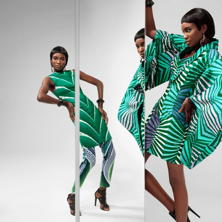 Vlisco geometric print in green Unseen collection
