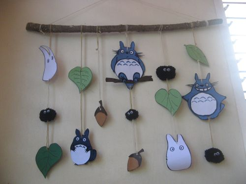 Totoro mobile, with acorns & leaves!