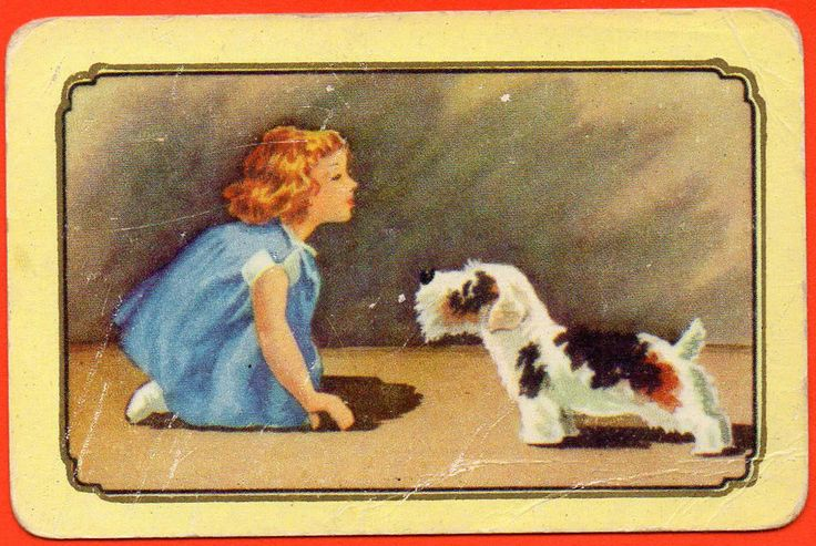 Girl with Dog Terrier Coles Swap Playing Card Un-named Series Blank Back # 1922 Currently $21.00