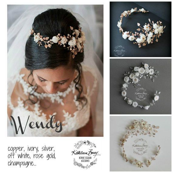 Rose Gold Copper Bridal Hair Wreath Headband Crown Handmade Fabric Floral Wedding Hair Accessory Ivory STYLE: Wendy. This asymmetrical hair vine with delicate handmade off white/ivory fabric flowers, Czech glass flower buds, Czech matte glass copper etched leaves and Czech pearl detailing, Japanese galvanized metallic seed beads, and brushed gold glass stamens. The wire used is gold plated copper core and copper, the overall look is a two toned - therefore a Rose Gold feel. This hairpi...