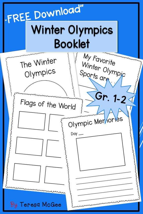 A Winter Olympics Booklet for kids in grade one and two!