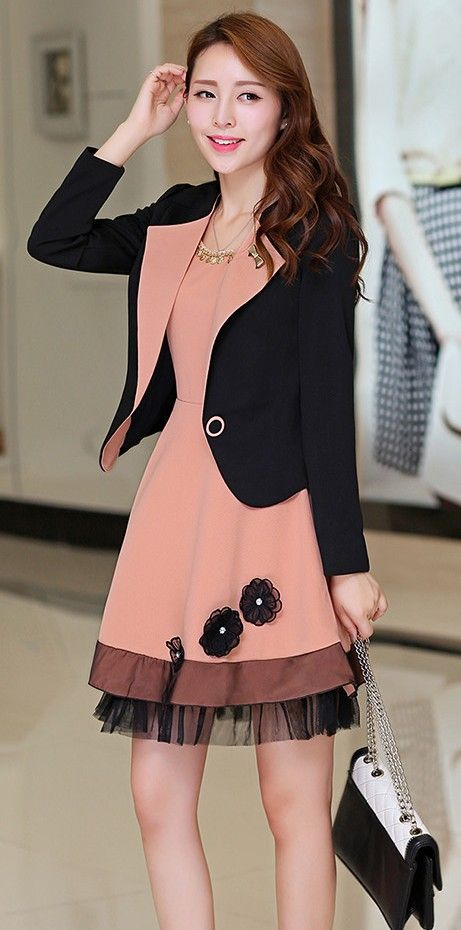 2in1 Korean Set Dress Plus Blazer Jacket YRB0284