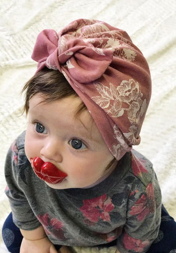 Antique Pink  baby turban hat with bow by turbansfortots on Etsy