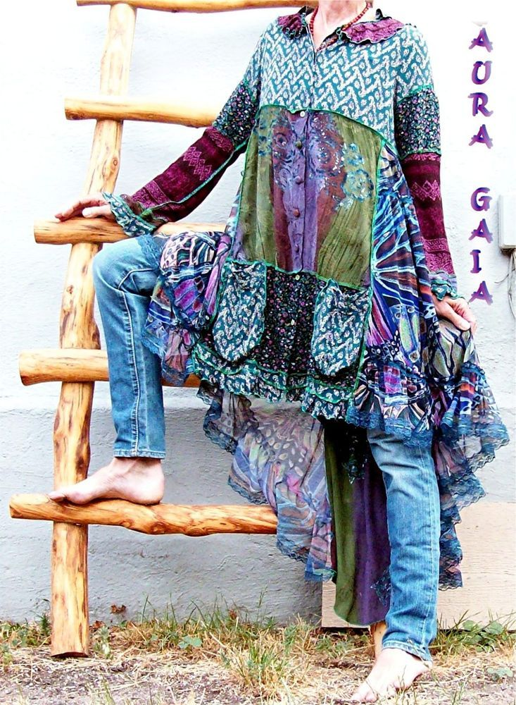 AuraGaia ~ Wings to Fly ~ Tunic Dress Jacket to Layer or Not Upcycled S-M/L Butterfly Wings. silk rayon lace OOAK
