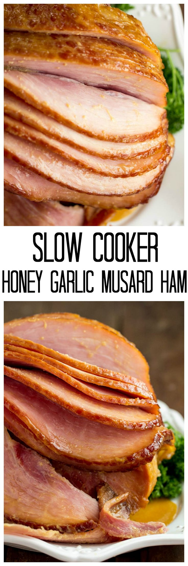 Slow Cooker Honey Garlic Mustard Glazed Ham has he most amazing flavor and is made right in your slow cooker!!