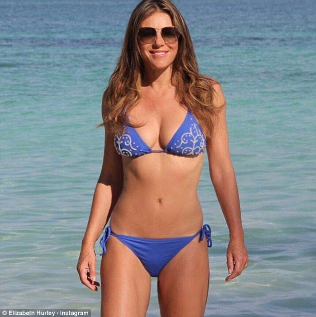 Be a babe in a blue bikini like Elizabeth Hurley #DailyMail Click 'Visit' to buy now