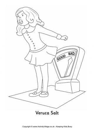 Veruca Salt Colouring Page. Roald Dahl coloring pages.