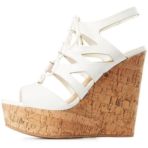 Bamboo Lace-Up Cork Wedge Sandals (£16) ❤ liked on Polyvore featuring shoes, sandals, white, white lace up sandals, wedge sandals, white wedge shoes, open toe wedge sandals and chunky platform sandals