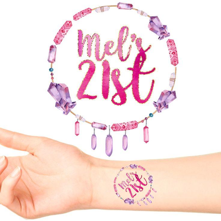 Boho Gems Birthday Personalised Tattoos #1123 (24 pack)