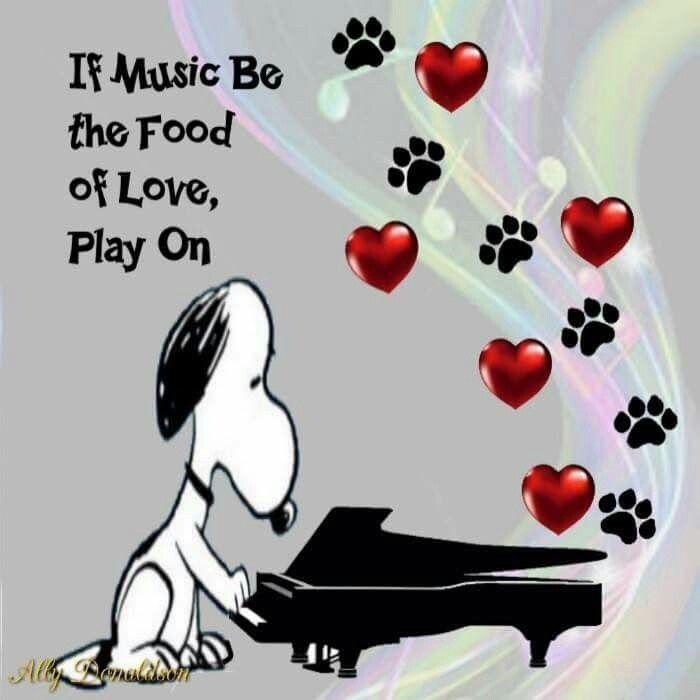 If music be the food of love, play on. Snoopy playing the piano.