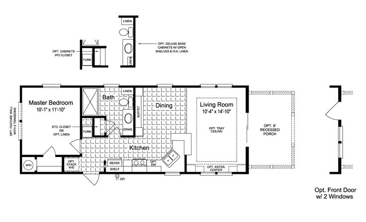 The Sunset Cottage I 16401b Floor Plan 16 X 40 620
