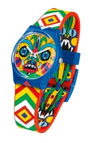 Mika 4 Swatch trippin' angry aztec watch