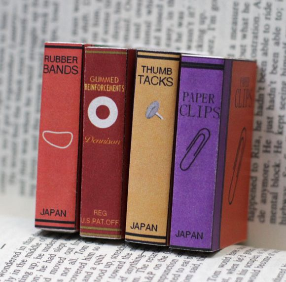 Mini Office Supply Bookcovers for Matchboxes